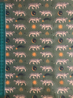 Khaki green tiger moon patterned cotton woven fabric (per half metre)