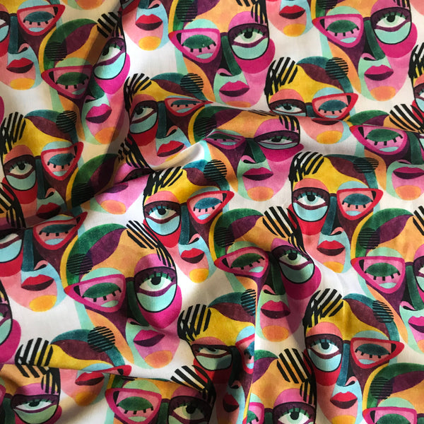 Bold watercolour graphic face patterned cotton woven fabric (per half metre)