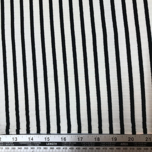 Wide stripe black and white ribbing poly viscose jersey knit fabric (per half metre)