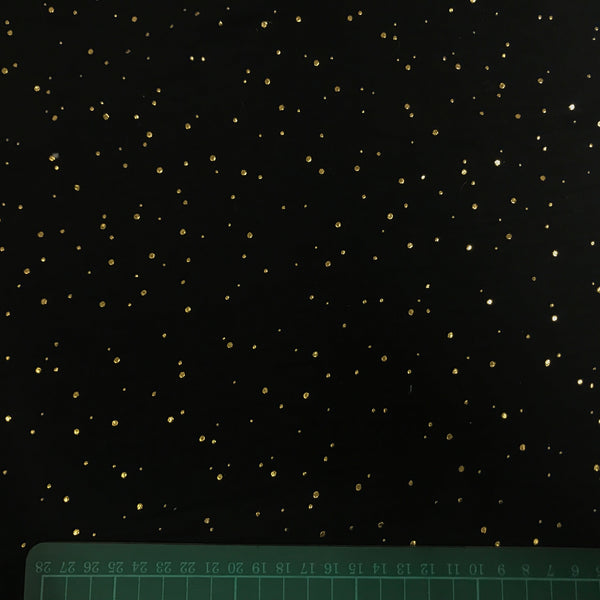 Black and gold speckled metallic cotton double gauze fabric (per half metre)