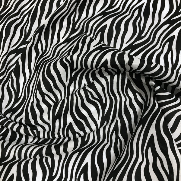 Zebra animal print polycotton woven fabric (per half metre)
