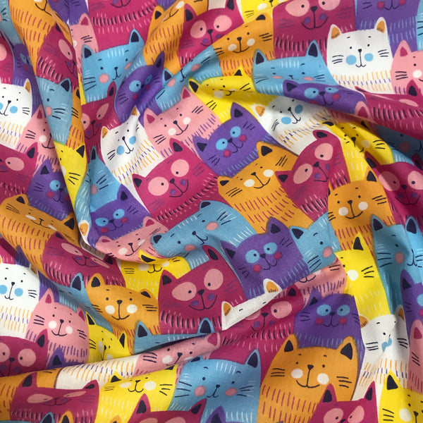 Pink bold graphic cat patterned polycotton woven fabric (per half metre)