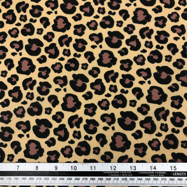 Natural leopard animal print patterned polycotton woven fabric (per half metre)