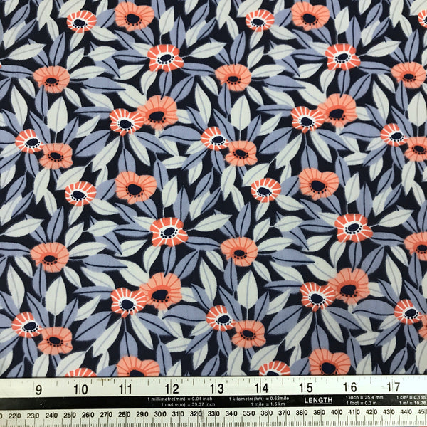 Blue poppy floral flower print patterned polycotton woven fabric (per half metre)
