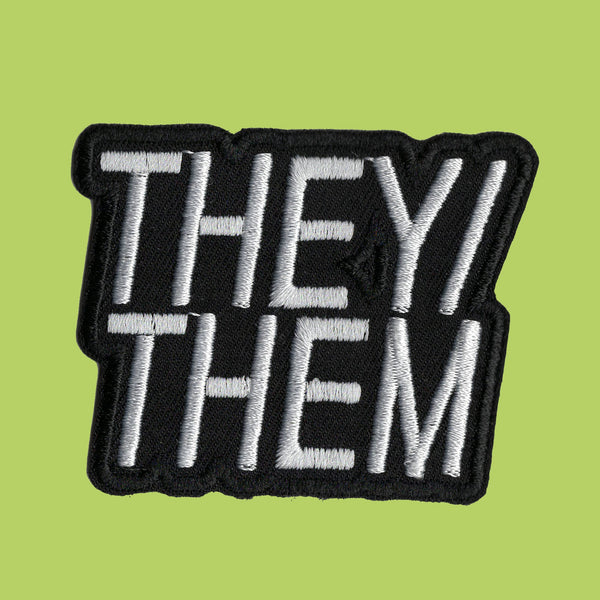 They/them pronoun text iron on patch