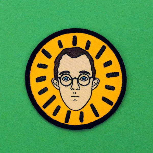 Keith Haring illustrated portrait iron on patch