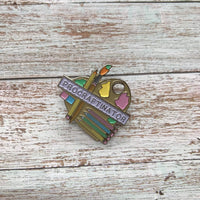 Procraftinator pastel painting stationary pin badge