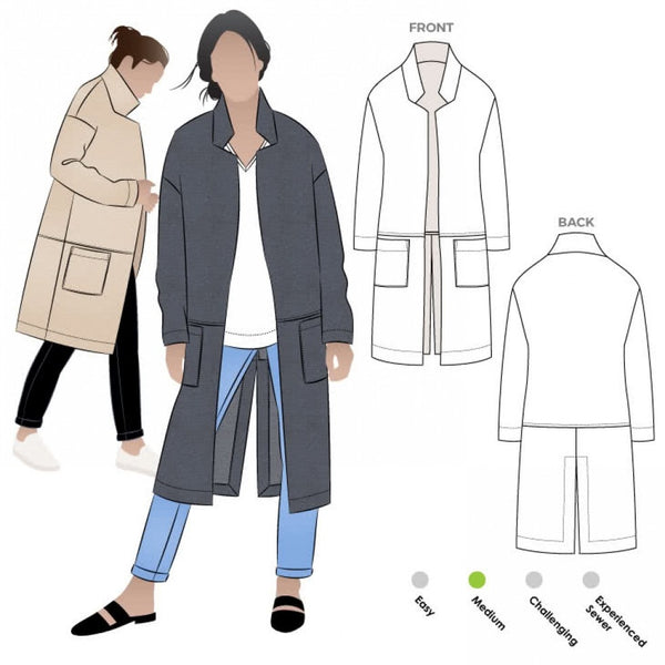 Style Arc Parker coat sewing pattern (US 18-30)