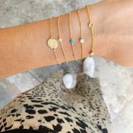 SLOANE SMALL STONE BRACELET - ROSE QUARTZ GOLD