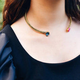 Cali Collar Crystal and Moonstone Collar Necklace - 24 kt Gold