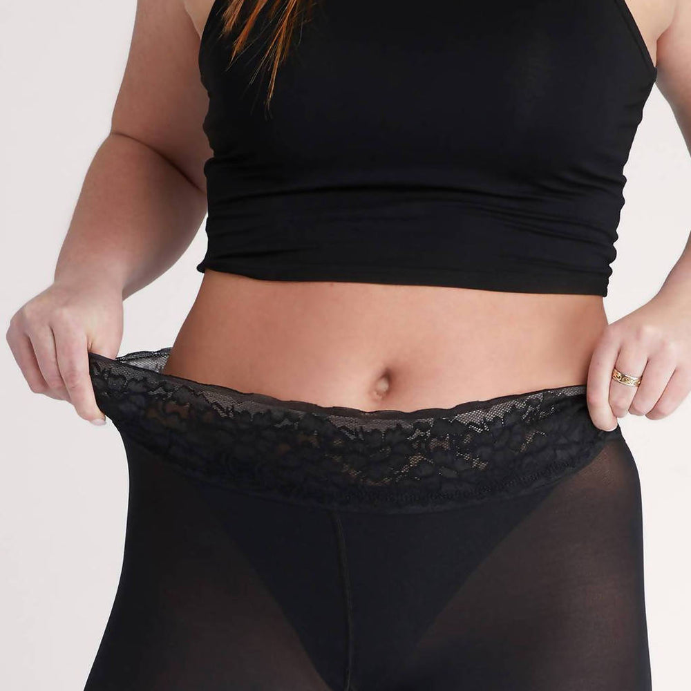 Load image into Gallery viewer, Black Ribbed Tights, Opaque With Comfortable Luxe Waistband