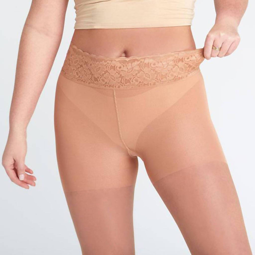 Load image into Gallery viewer, Tan Pantyhose, Sheer Pantyhose With Luxe Comfort Top, Caramel