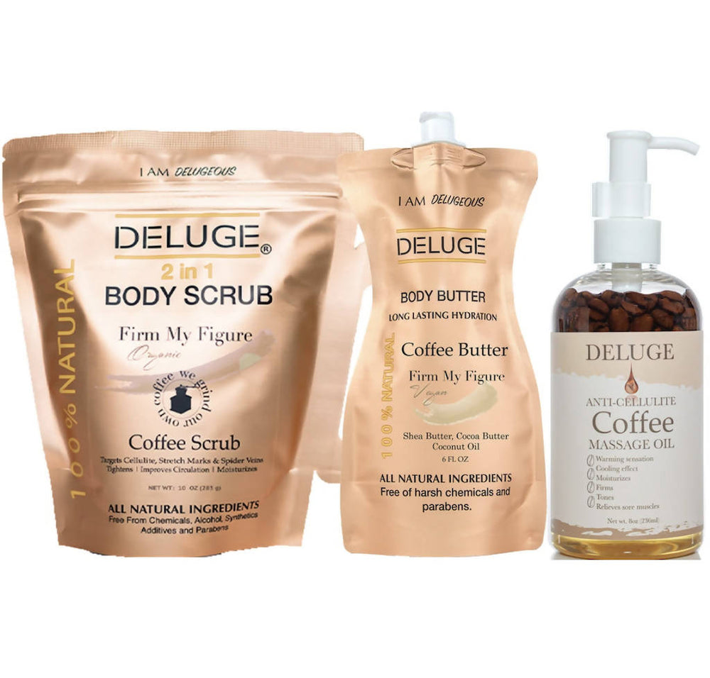 Coffee Scrub, Coffee Butter, Coffee Massage Oil Set - 24 oz