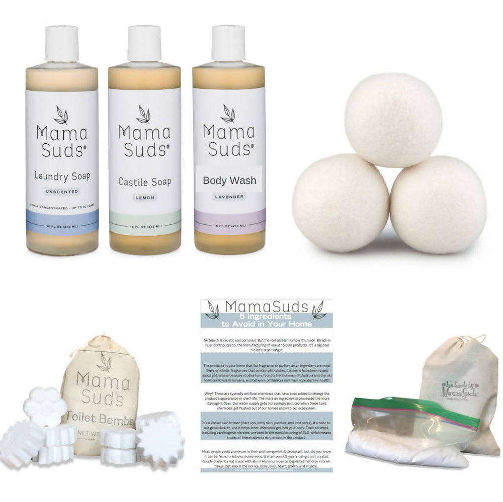 Household Cleaning Products Starter Box - Laundry Soap, Castile Soap, Body Wash, Automatic Dishwasher Powder, Toilet Bombs, and 3 XL Dryer Balls