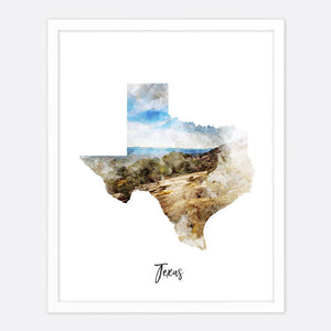 Load image into Gallery viewer, Texas Watercolor Map Print