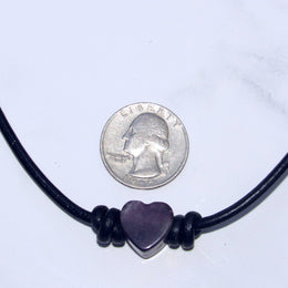 Leather and Gemstone Heart Choker/Necklace