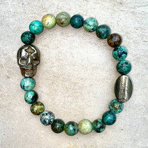 Load image into Gallery viewer, Pyrite Skull and Genuine Gemstones Men's Stretch Bracelet