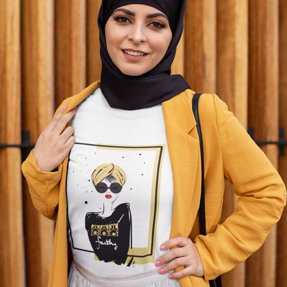"Load image into Gallery viewer, White Graphic Women's Tee - ""Turban Girl"""