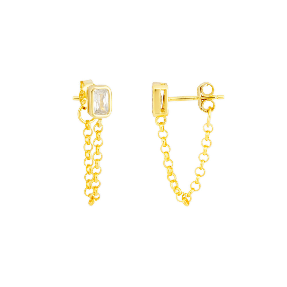 ASTRID CRYSTAL STUD CHAIN EARRING- GOLD