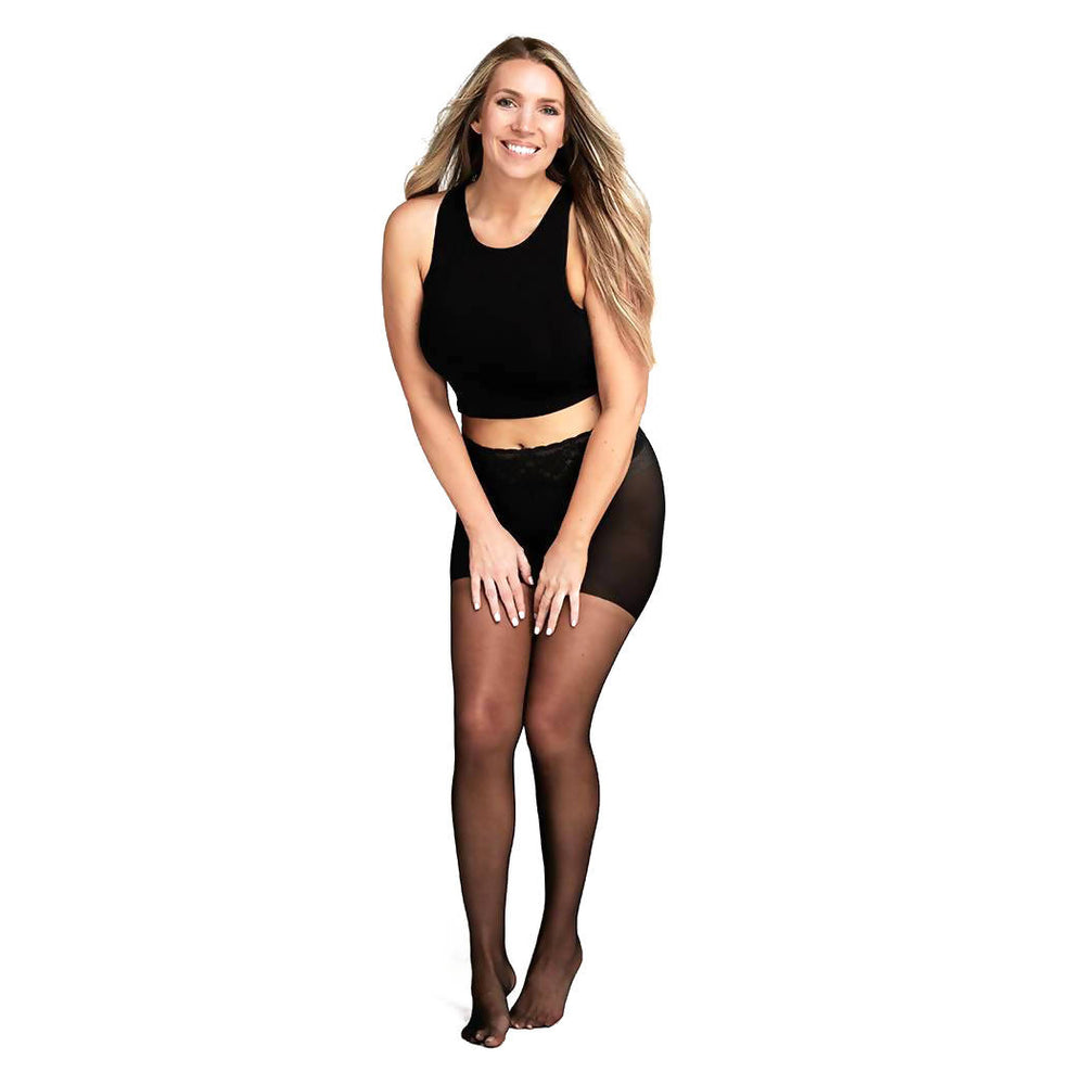 Sheer Black Pantyhose With Comfortable Low Rise Luxe Waistband