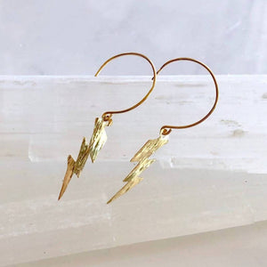 Load image into Gallery viewer, Lightning Bolt Dangle Earrings - Gold