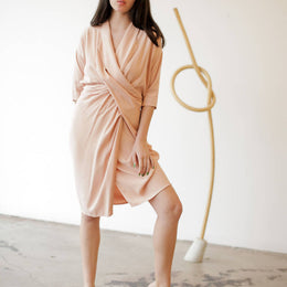 Collar Cowl Dress- Blush