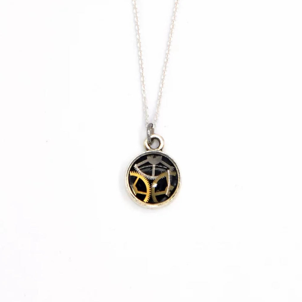 Tiny Watch Part Circle Pendant Necklace