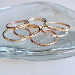 Stackable Hammered Rings - Gold