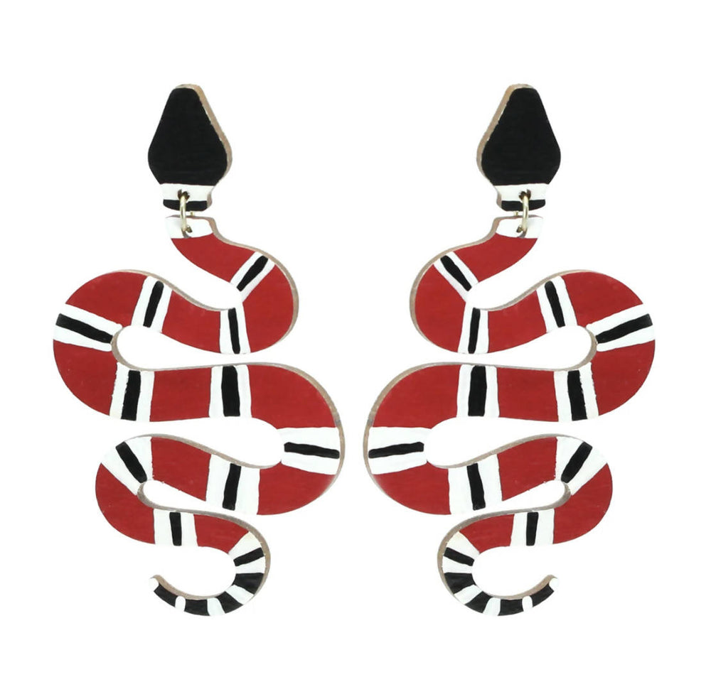 Load image into Gallery viewer, Snake Dangle Earrings - Black/Red