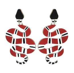 Snake Dangle Earrings - Black/Red