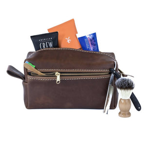 Load image into Gallery viewer, Double Zipper Leather Toiletry Bag - 4 Colors