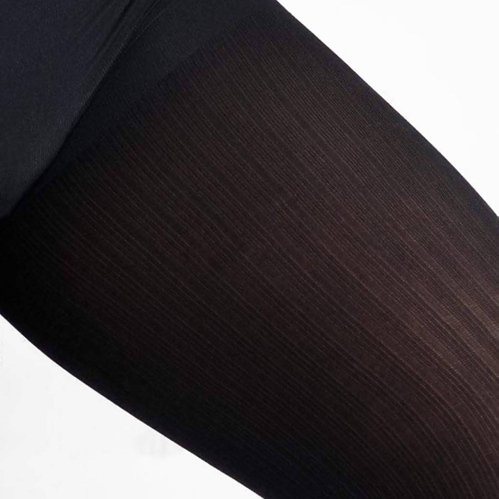 Black Ribbed Tights, Opaque With Comfortable Luxe Waistband