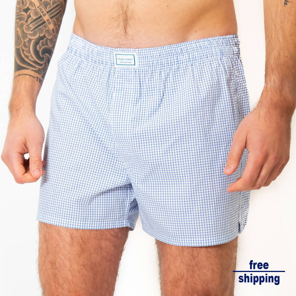 Load image into Gallery viewer, The FiDi Plaid Boxer - Navy/ White