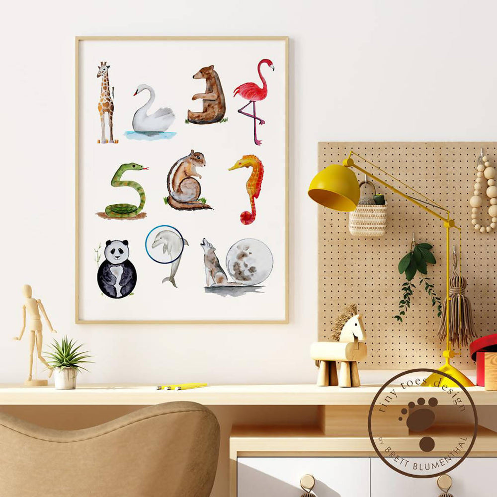 Load image into Gallery viewer, Animal Numbers Print Wall Art