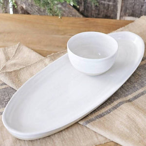 "Load image into Gallery viewer, 20"" Antipasto Tray with Bowl in White - Louisville Pottery Collection"