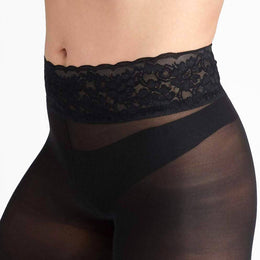 Black Semi-Opaque Comfort Tights With Comfortable Low Rise Luxe Waistband