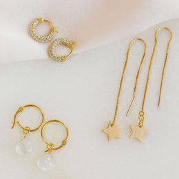 KIRI STAR THREADER EARRINGS - GOLD