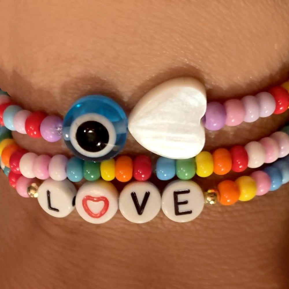 Eye Love You Beaded Bracelet - Multicolor