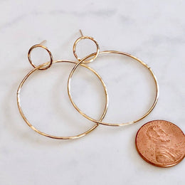 Modern Double Circle Post Earrings - Gold