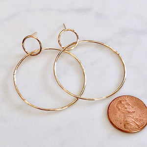 Load image into Gallery viewer, Modern Double Circle Post Earrings - Gold