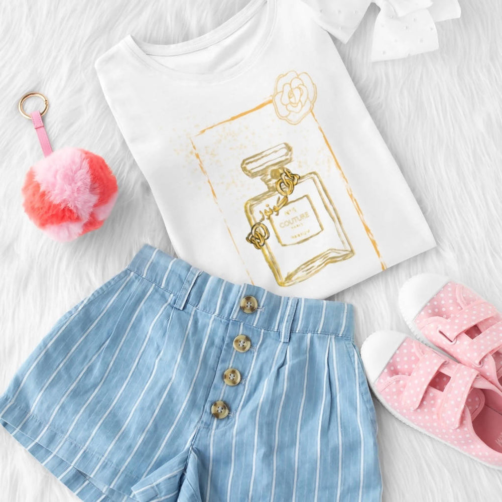 "Load image into Gallery viewer, White Graphic Toddler ""Couture"" Perfume Bottle Tee"