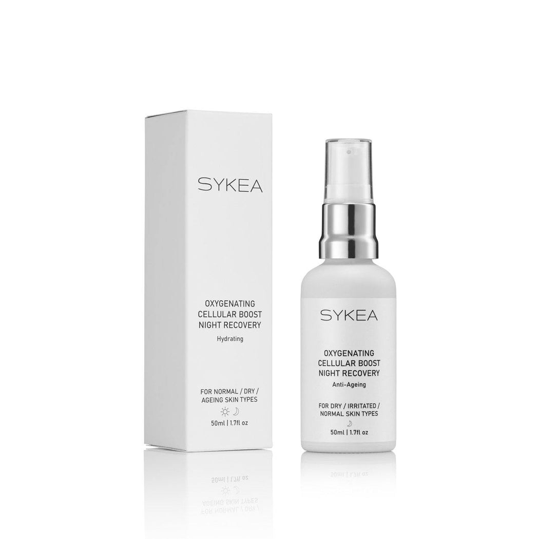 Sykea Oxygenating Night Recovery facial serum bottle and box