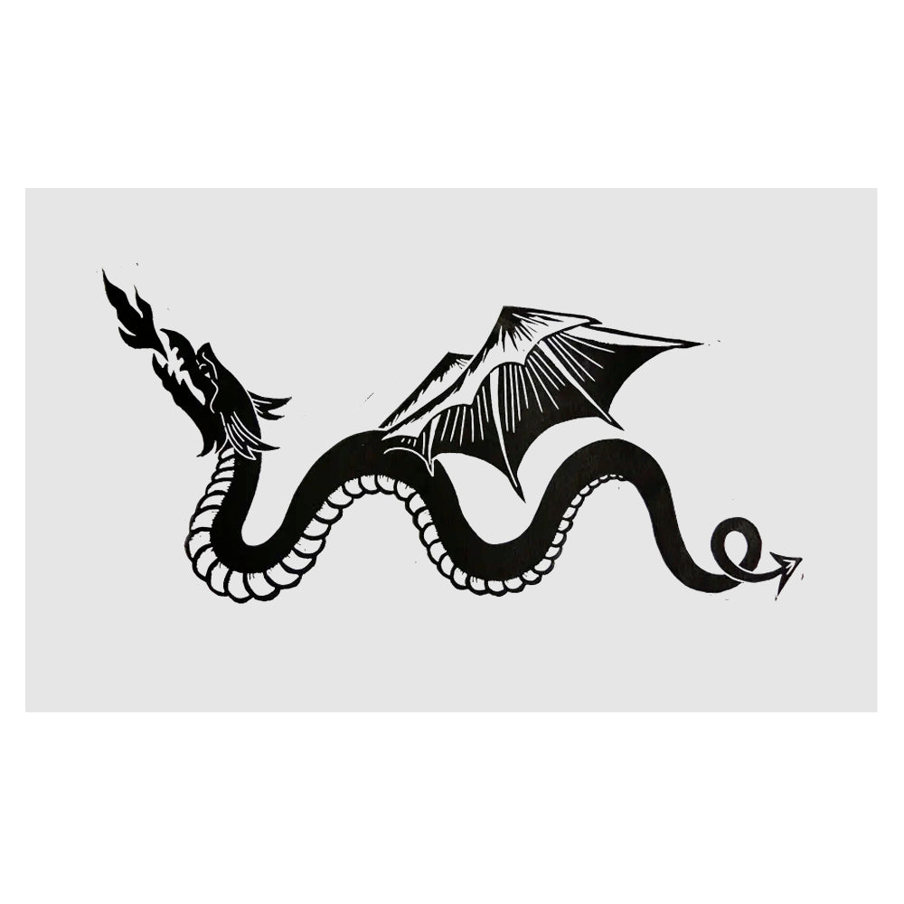 MEDIEVAL DRAGON - Linoprint