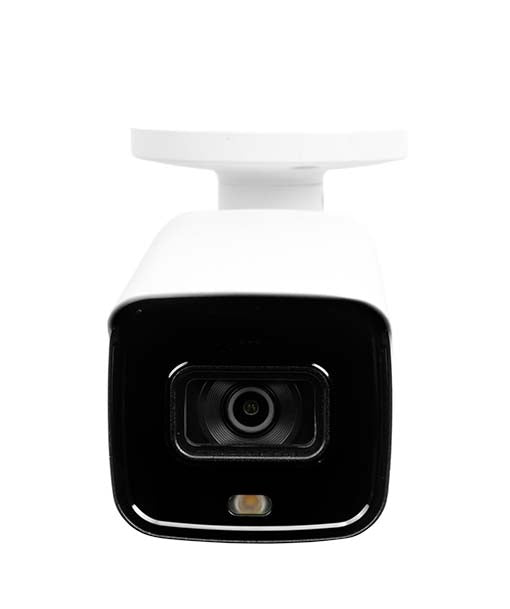 White bullet style active deterrence security camera viewed from the front showing a l e d light and infrared light at the bottom of the lens