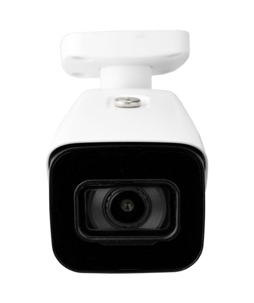 Front view of a single 4K 8 megapixel bullet style security camera. White housing