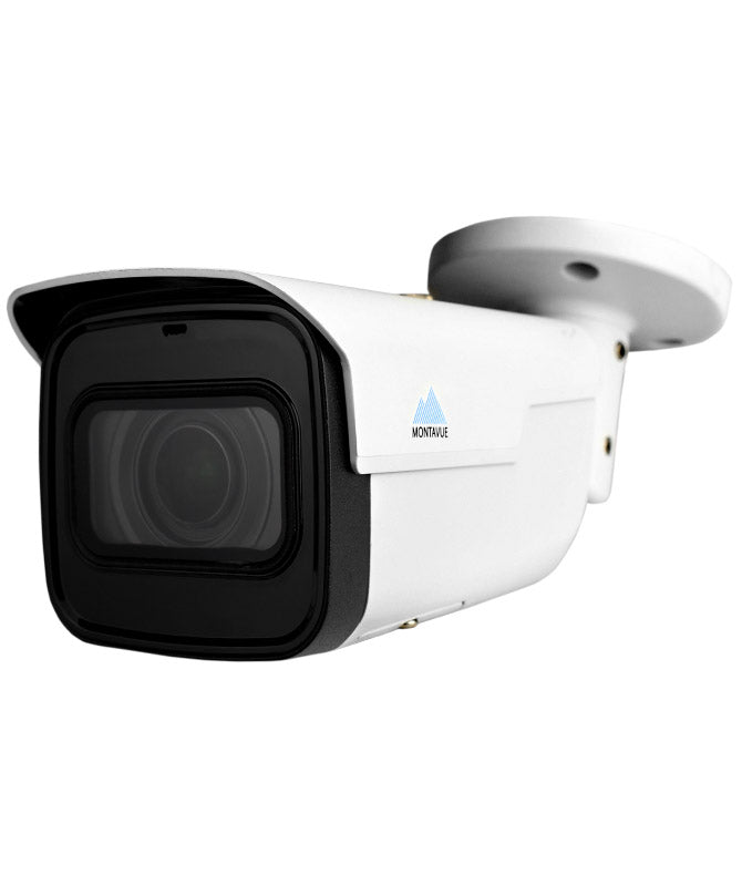 A single 4K 8 mega pixel varifocal security camera with a white metal exterior. side view