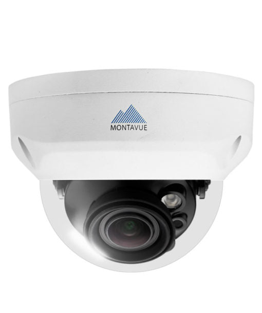 A single 4K 8 megapixel dome style security camera. White housing and vandal resistant dome