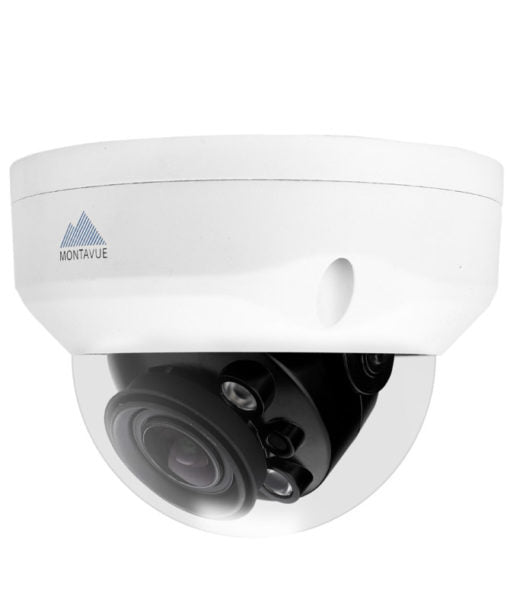Side view of a a single 4K 8 megapixel dome style security camera. White housing and vandal resistant dome