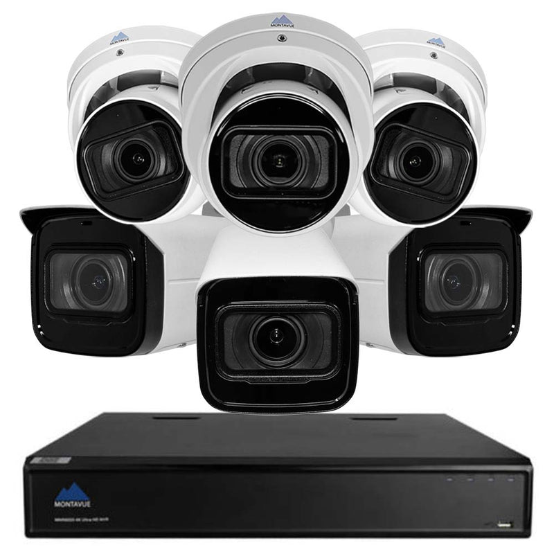 8MP Ultra HD Security System w/ 3 8MP Varifocal AI-SMD Starlight Audio Turret Cameras and 3 8MP Varifocal AI-SMD Starlight Bullet Cameras- Smart Motion Detect, 4x Motorized Zoom, 2TB HDD