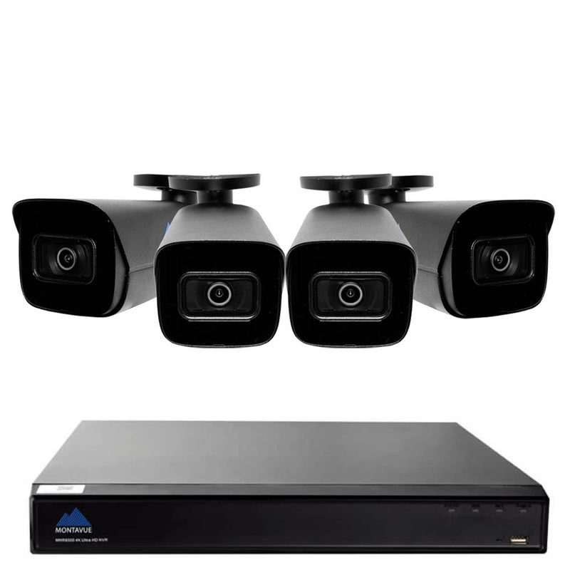 4K Home Security System w/ 4  4K 8MP Smart Motion Detect Bullet Cameras - Built-in mic, Starlight Night Vision, 2TB HDD